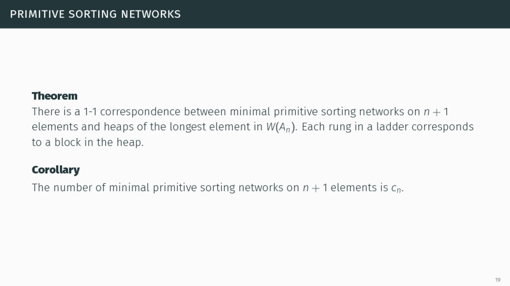 primitive sorting networks Theorem There is a 1...