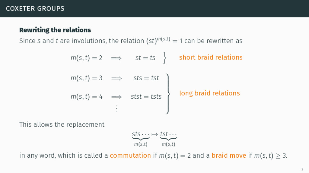 coxeter groups Rewriting the relations Since s ...