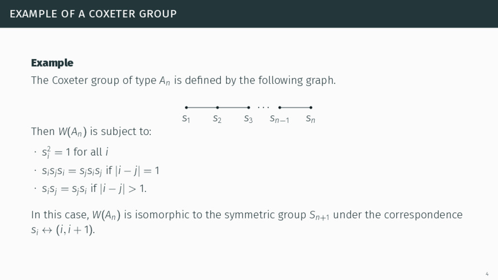 example of a coxeter group Example The Coxeter ...