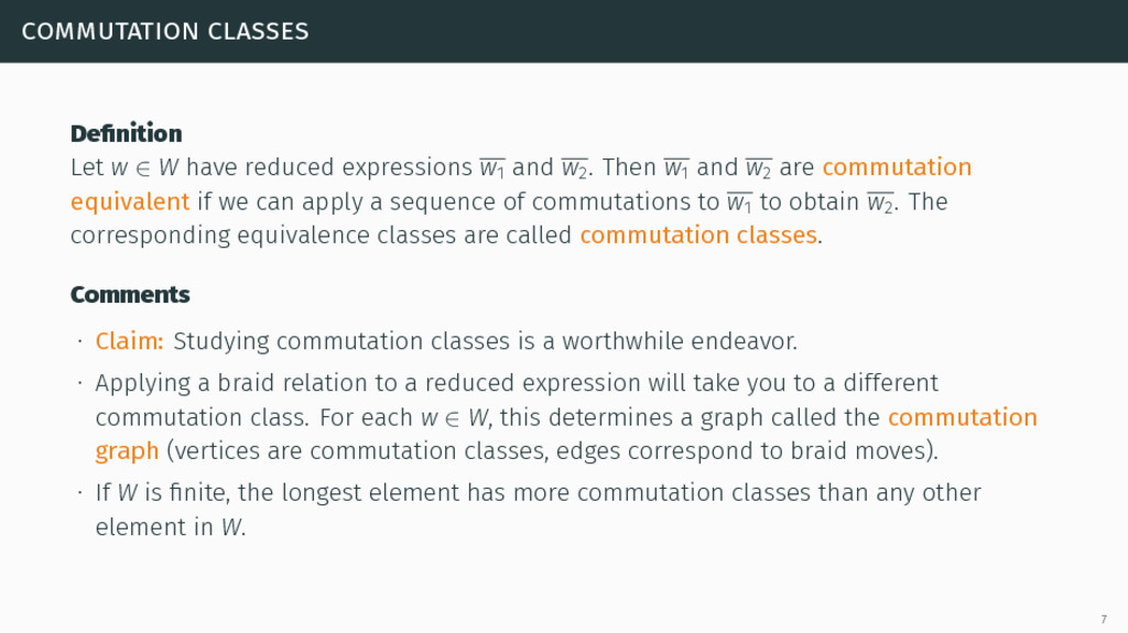 commutation classes Definition Let w ∈ W have re...