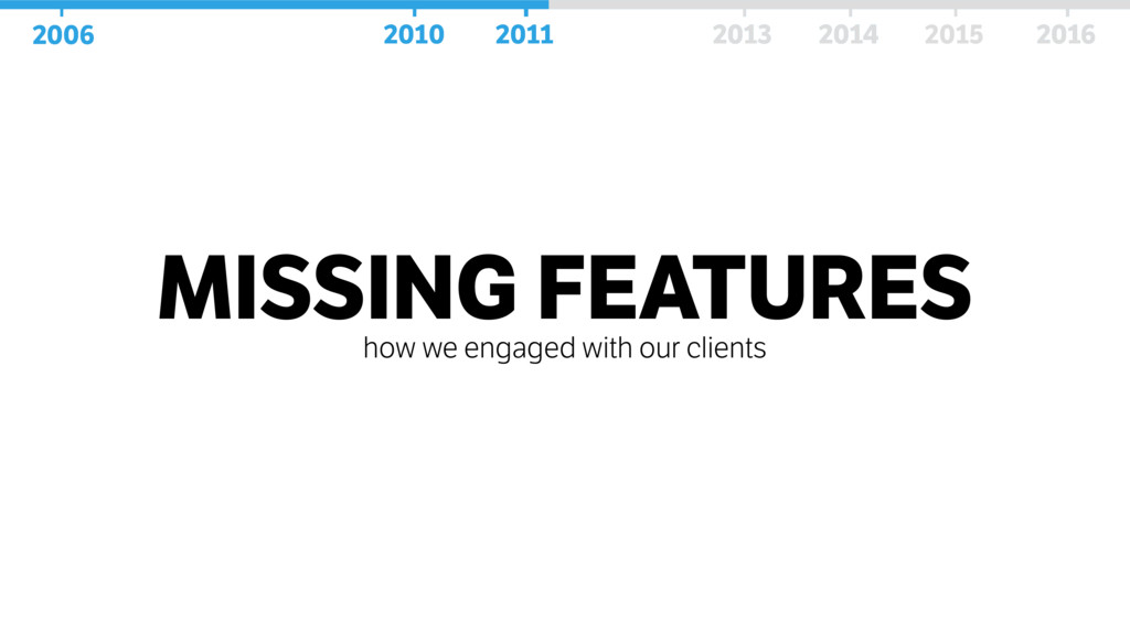 MISSING FEATURES how we engaged with our client...