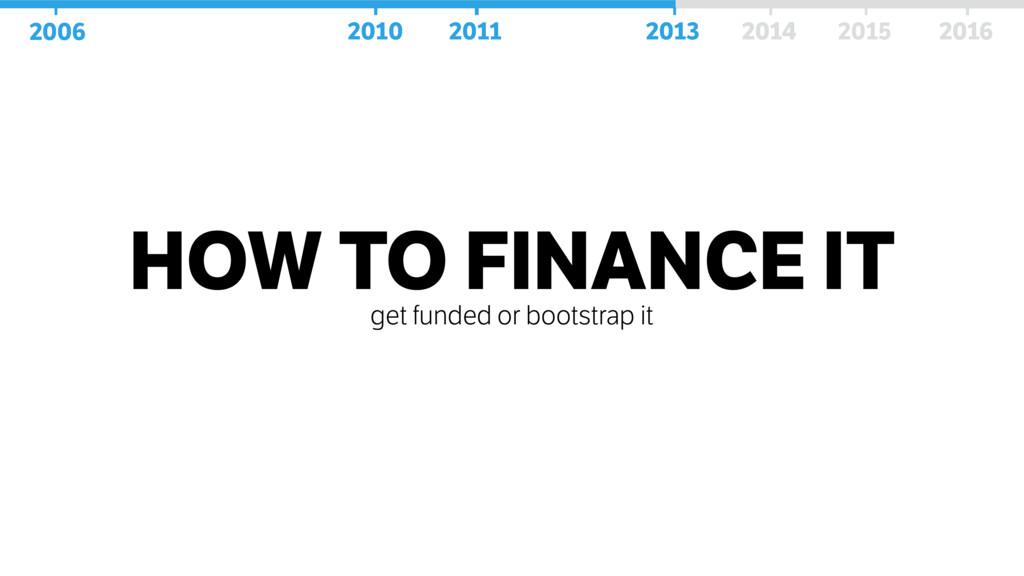 HOW TO FINANCE IT get funded or bootstrap it 20...