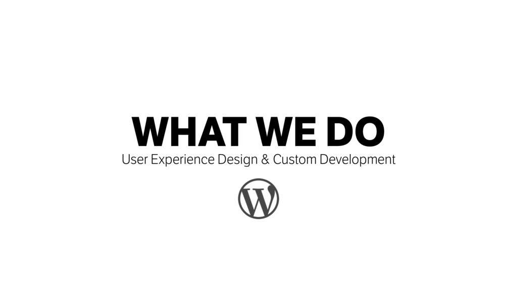 WHAT WE DO User Experience Design & Custom Deve...