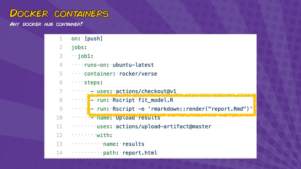 Docker cont ainers Any docker hub cont ainer!