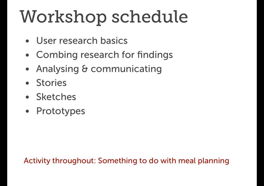Workshop schedule • User research basics • Comb...