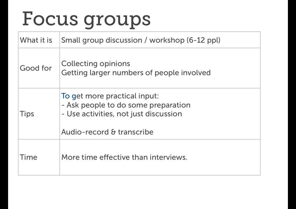 Focus groups What it is Small group discussion ...