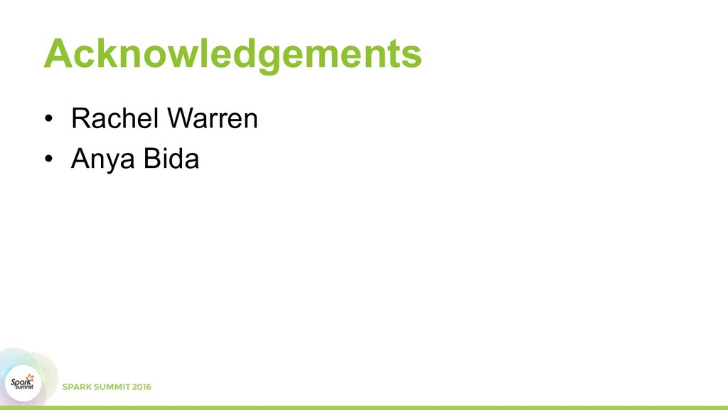 Acknowledgements •  Rachel Warren •  Anya Bida