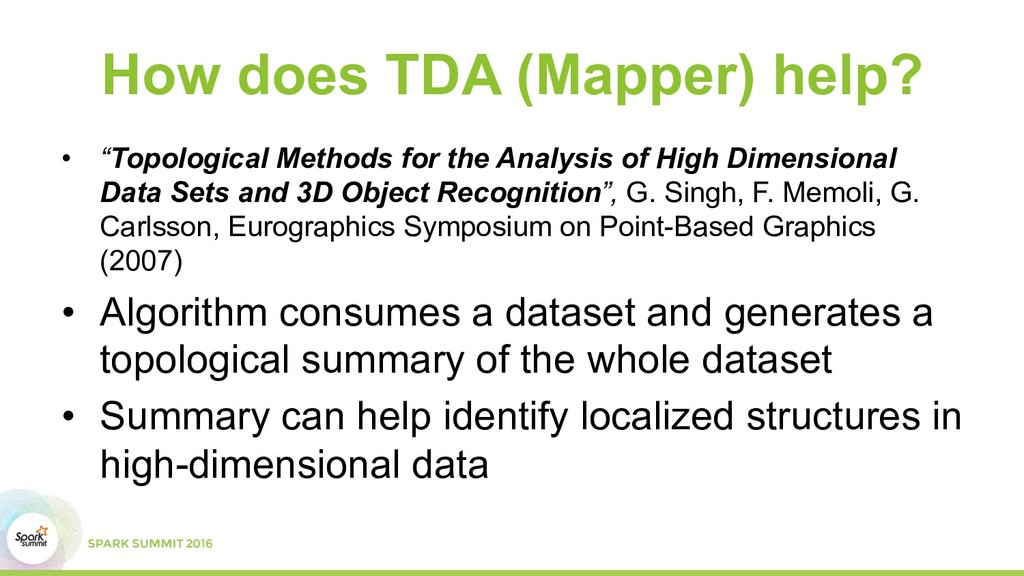 "How does TDA (Mapper) help? •  ""Topological Met..."