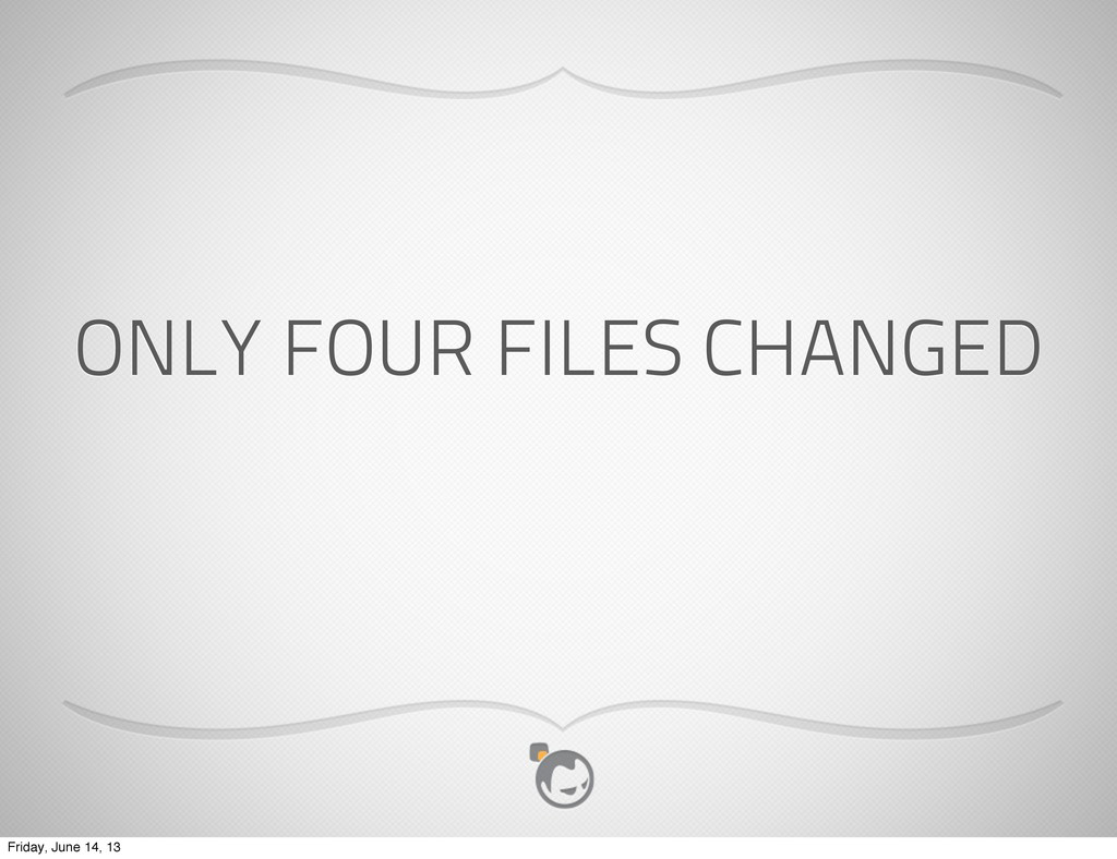 ONLY FOUR FILES CHANGED Friday, June 14, 13
