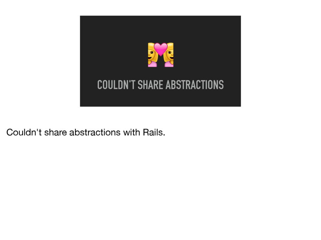 8 COULDN'T SHARE ABSTRACTIONS Couldn't share ab...