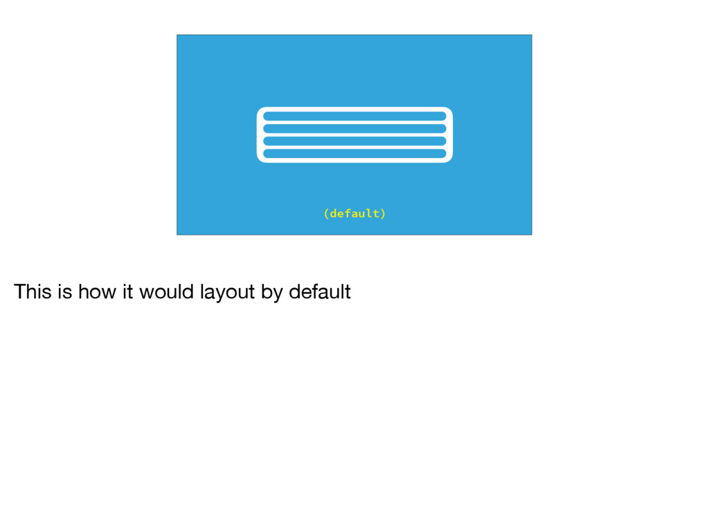 (default) This is how it would layout by default