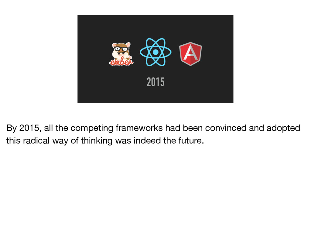 2015 By 2015, all the competing frameworks had ...