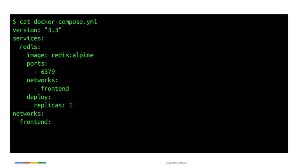 Google Cloud Platform $ cat docker-compose.yml ...