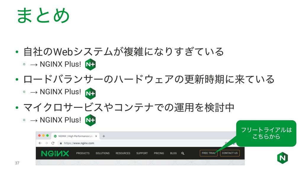 ·ͱΊ • ࣗࣾͷWebγεςϜ͕ෳʹͳΓ͍͗ͯ͢Δ ◦ → NGINX Plus! • ϩ...