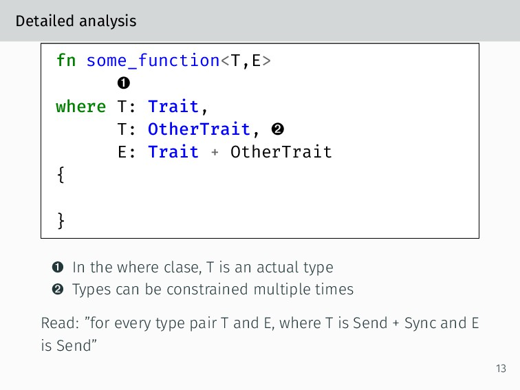 Detailed analysis fn some_function<T,E> – where...