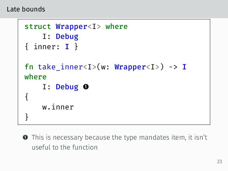 Late bounds struct Wrapper<I> where I: Debug { ...