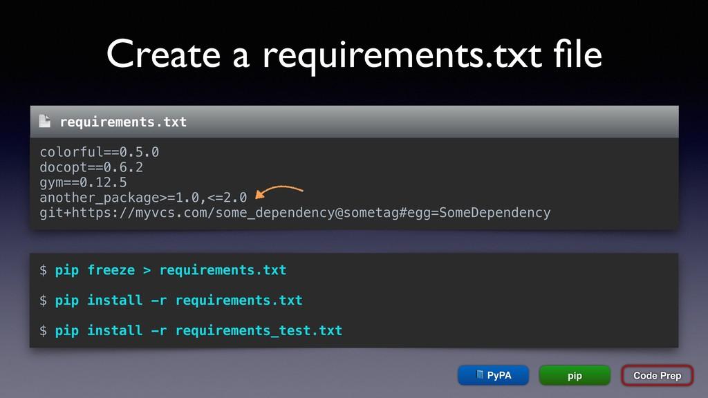 Create a requirements.txt file Code Prep  PyPA p...