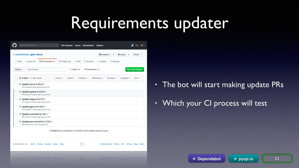 Requirements updater CI • The bot will start ma...