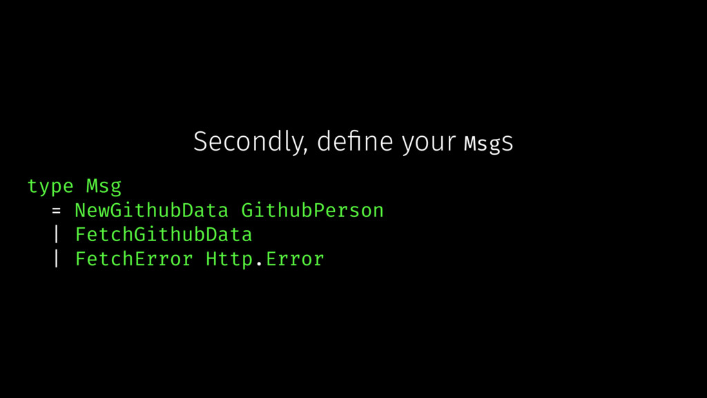 Secondly, define your Msgs type Msg = NewGithubD...