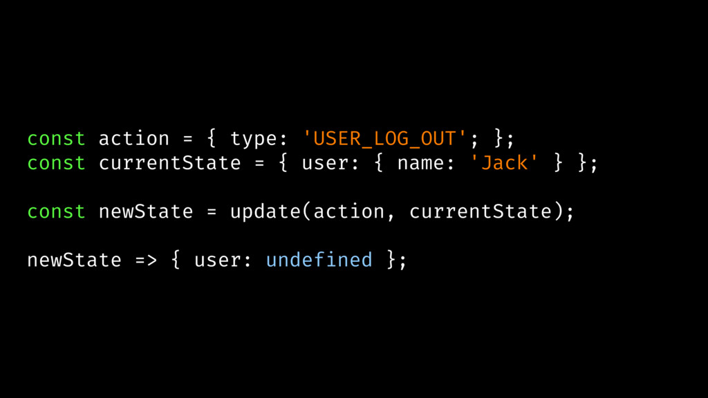 const action = { type: 'USER_LOG_OUT'; }; const...