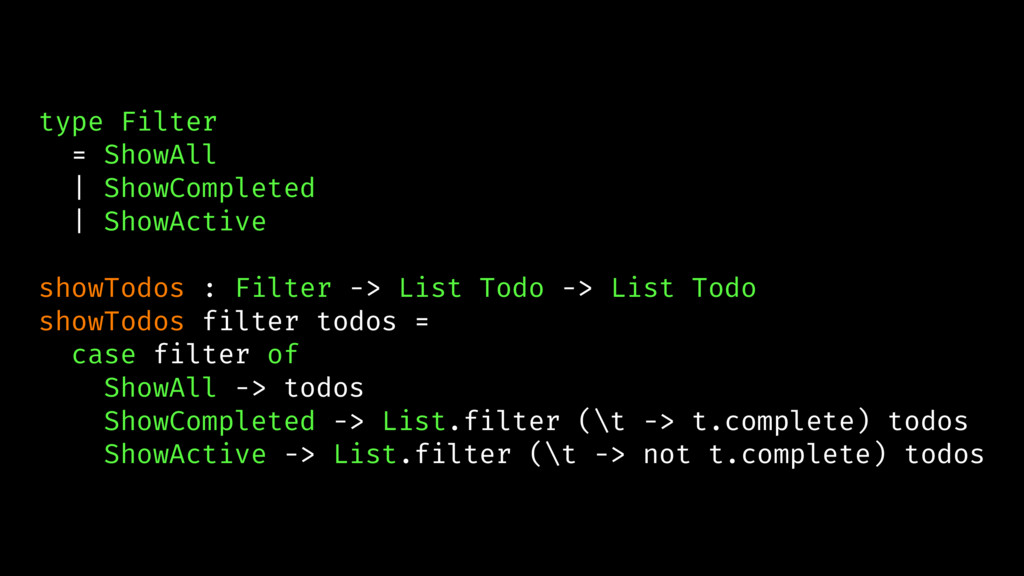 type Filter = ShowAll | ShowCompleted | ShowAct...