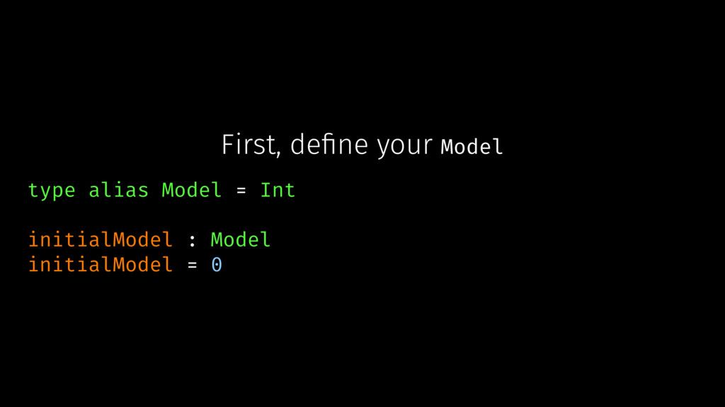 First, define your Model type alias Model = Int ...