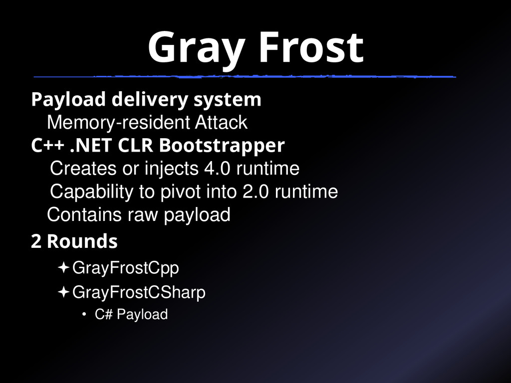 Gray Frost Payload delivery system Memory-resid...