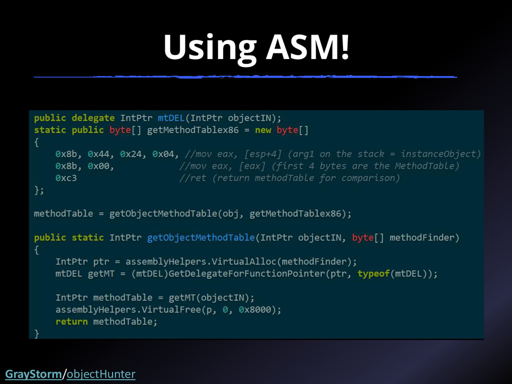 Using ASM! GrayStorm/objectHunter