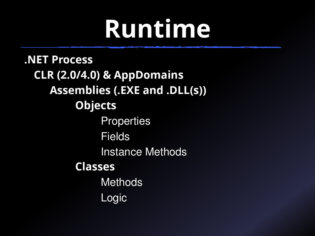 Runtime .NET Process CLR (2.0/4.0) & AppDomains...