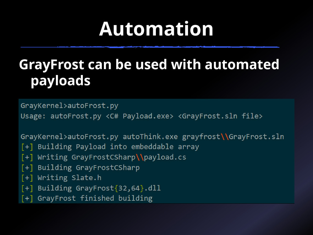 Automation GrayFrost can be used with automated...