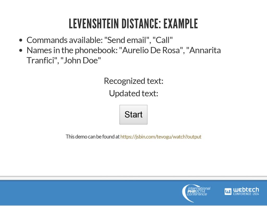 LEVENSHTEIN DISTANCE: EXAMPLE Commands availabl...