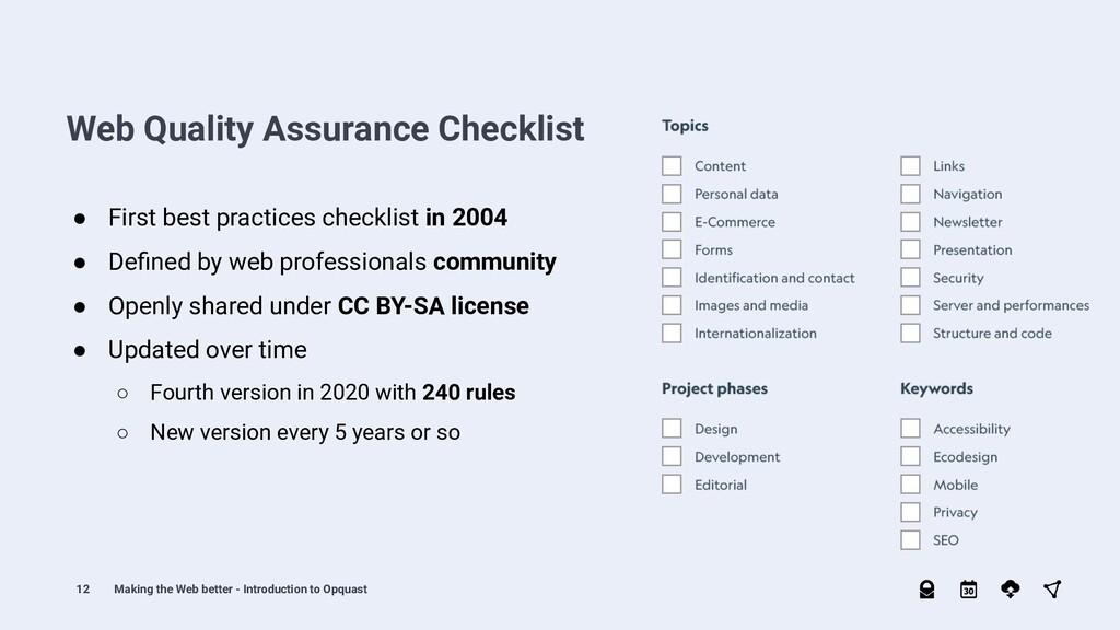 12 ● First best practices checklist in 2004 ● D...