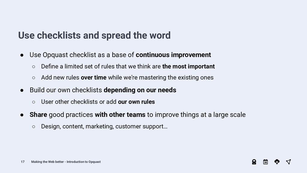 17 ● Share good practices with other teams to i...