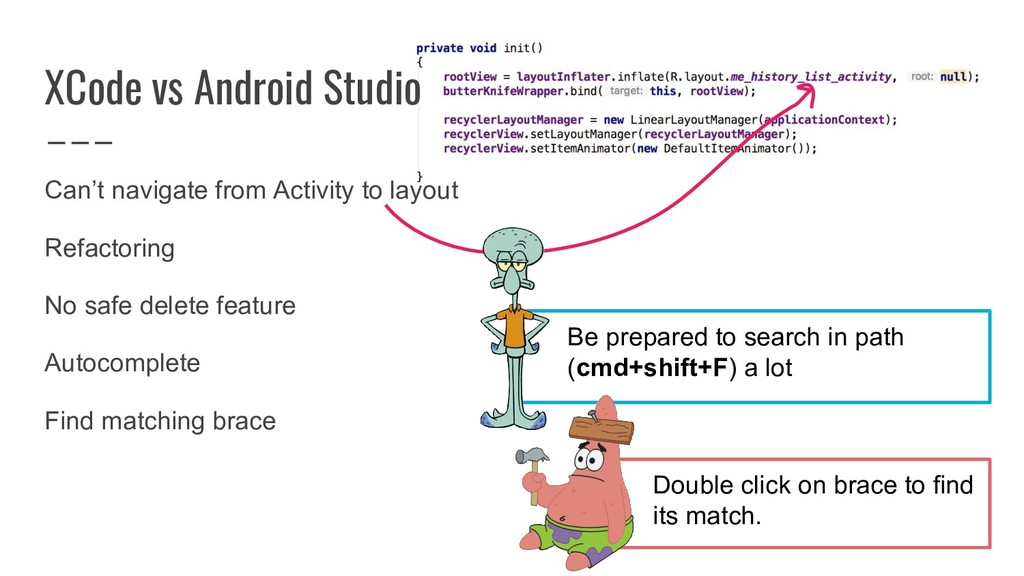 XCode vs Android Studio Can't navigate from Act...