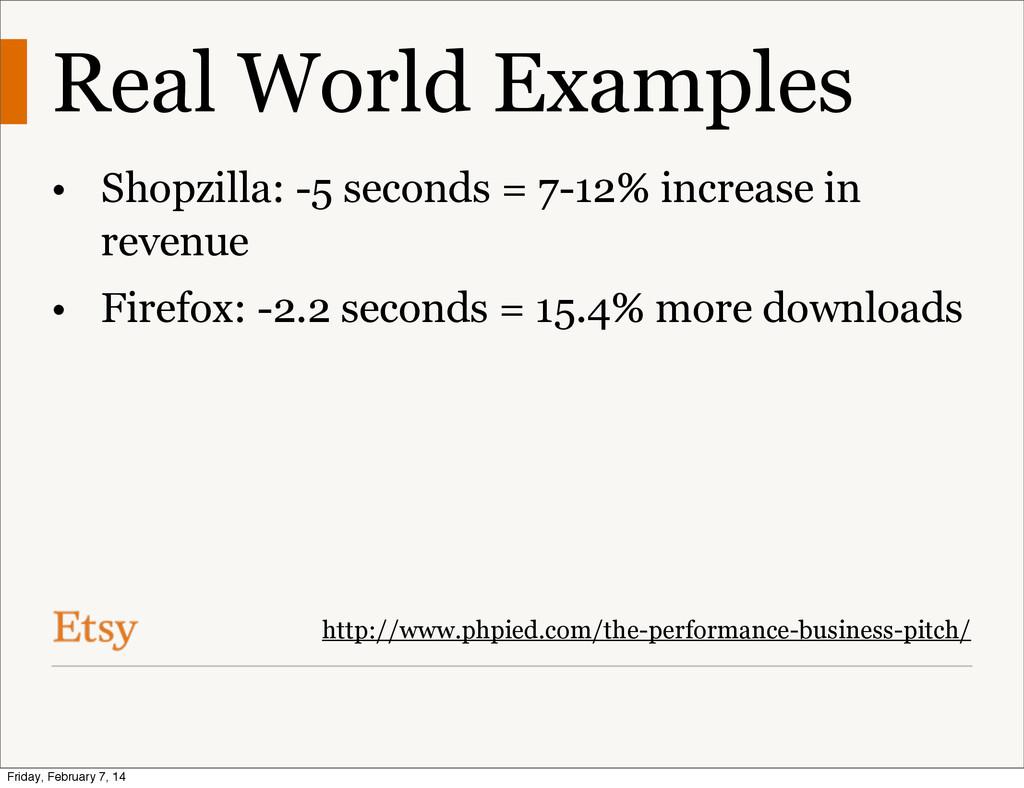Real World Examples • Shopzilla: -5 seconds = 7...
