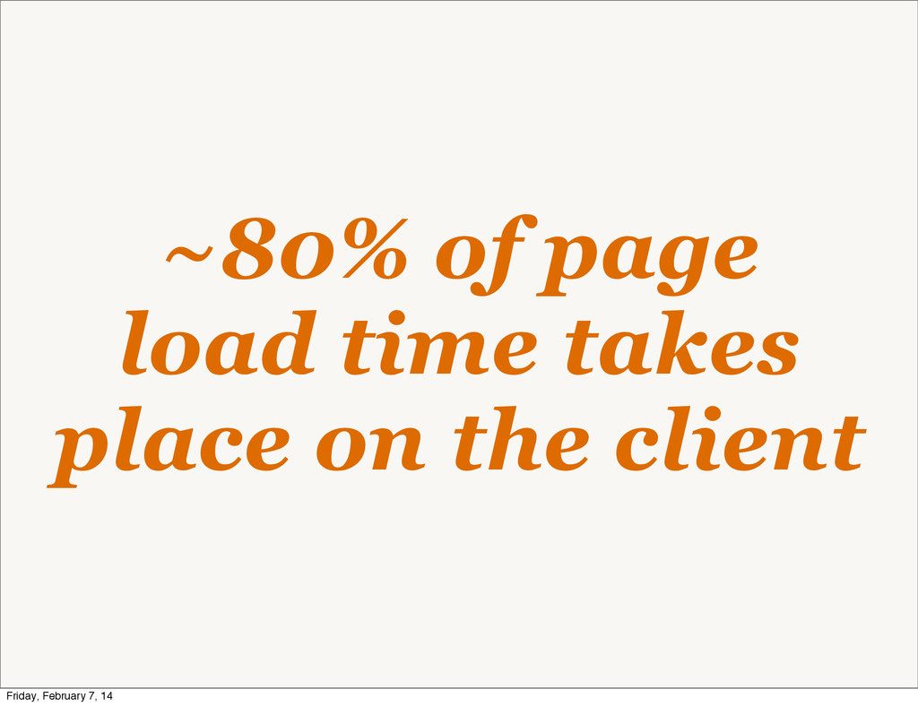 ~80% of page load time takes place on the clien...