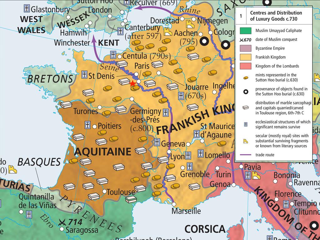714 do 90) Saragossa Toulouse Poitiers Turones ...