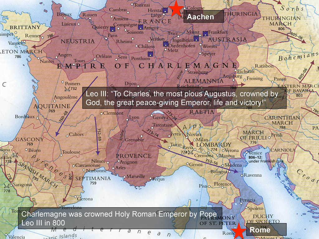 Charlemagne was crowned Holy Roman Emperor by P...