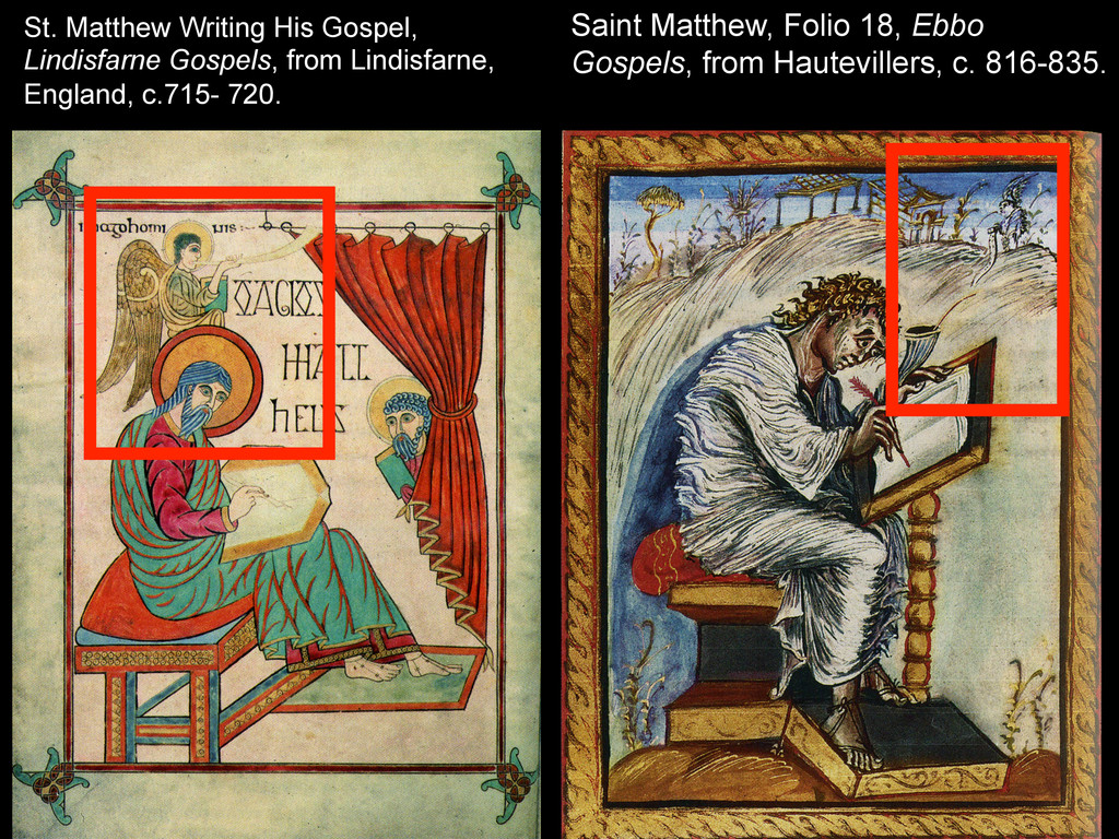 St. Matthew Writing His Gospel, Lindisfarne Gos...