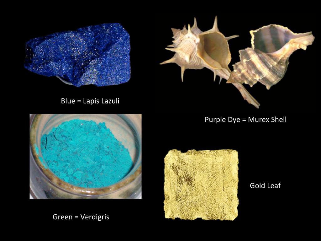 Purple Dye = Murex Shell  Blue...