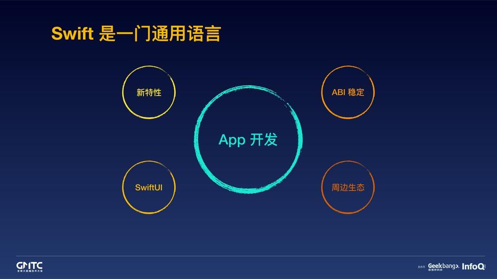 Swift 是⼀一⻔门通⽤用语⾔言 App 开发 新特性 SwiftUI ABI 稳定 周边⽣...