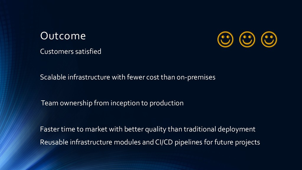 Outcome Customers satisfied Scalable infrastruc...