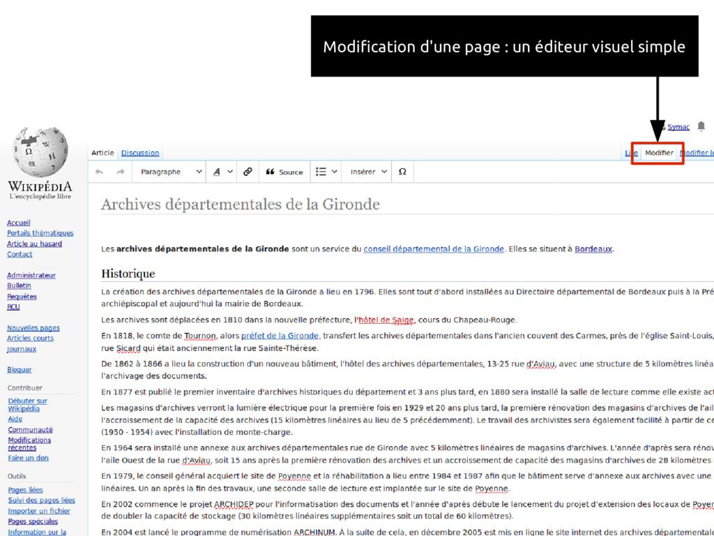 Modification d'une page : un éditeur visuel sim...