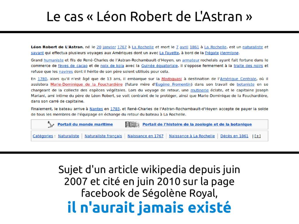 26 Le cas « Léon Robert de L'Astran » Sujet d'u...