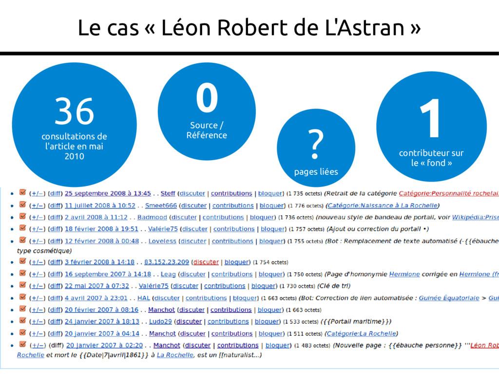 27 Le cas « Léon Robert de L'Astran » 36 consul...