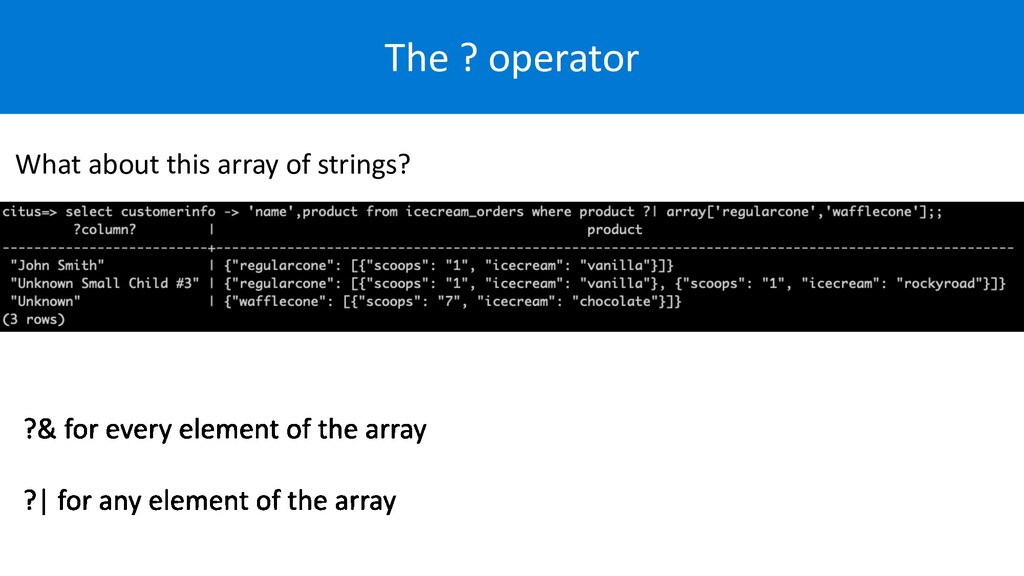 The ? operator What about this array of strings?