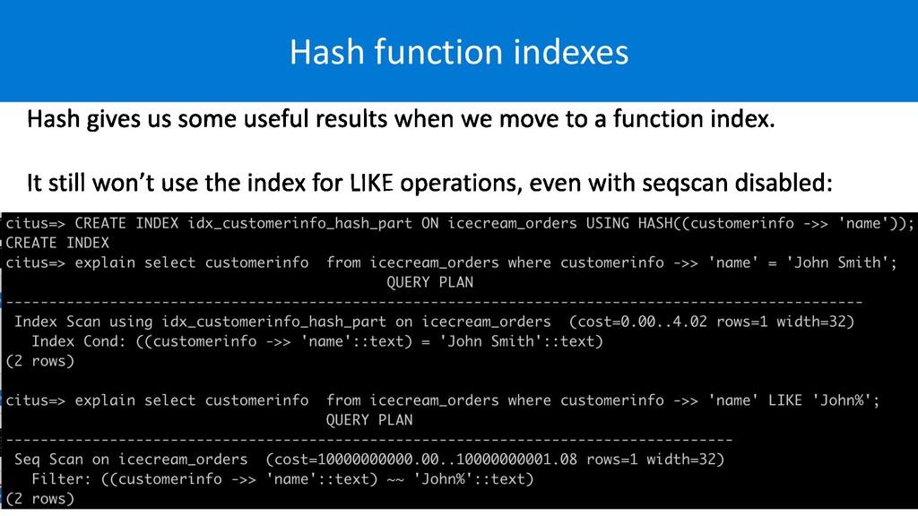 Hash function indexes