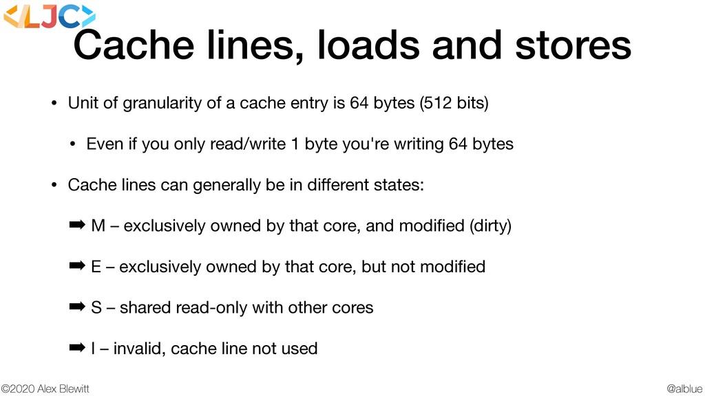 @alblue ©2020 Alex Blewitt Cache lines, loads a...