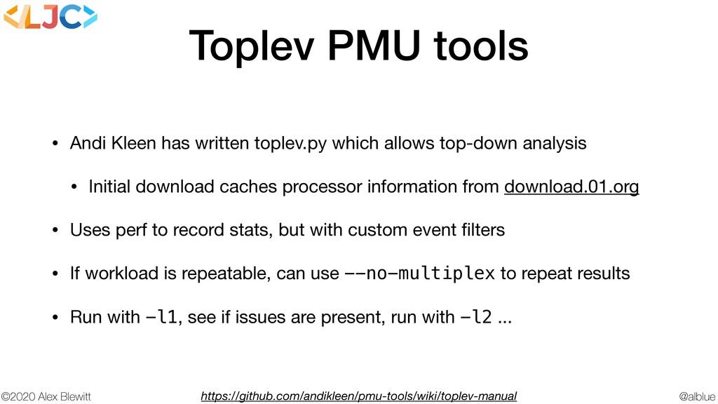 @alblue ©2020 Alex Blewitt Toplev PMU tools • A...