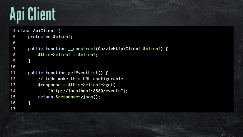 Api Client 4 class ApiClient { 5 protected $cli...